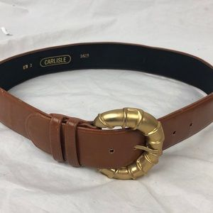 Vintage Carlisle Large Buckle Brown Leather Belt
